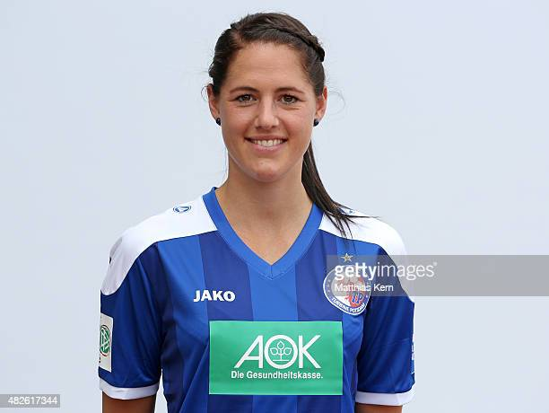 Inka Wesely poses during the official women's team presentation of 1FFC Turbine Potsdam at Luftschiffhafen on July 31 2015 in Potsdam Germany