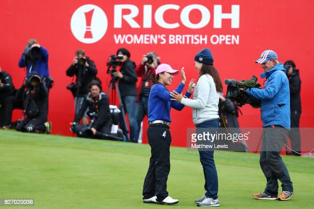 InKyung Kim of Korea celebrates victory on the 18th green during the final round of the Ricoh Women's British Open at Kingsbarns Golf Links on August...