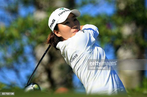 InKyung Kim of South Korea hits her tee shot on the first hole during the first round of the ADT Championship at the Trump International Golf Club on...