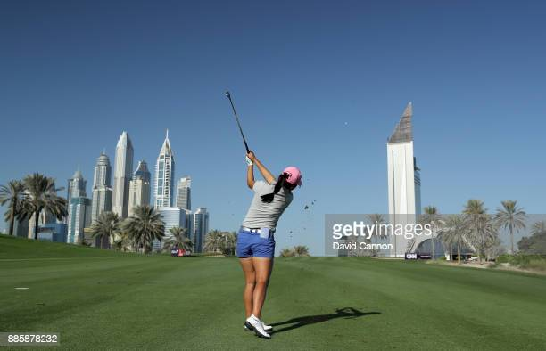 InKyung Kim of South Korea in action during the proam for the 2017 Dubai Ladies Classic on the Majlis Course at The Emirates Golf Club as a preview...