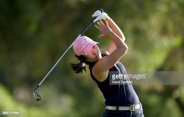 InKyung Kim of South Korea plays her tee shot on the par 3 15th hole during the first round of the 2017 Dubai Ladies Classic on the Majlis Course at...