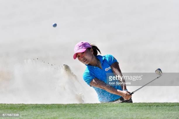 InKyung Kim of South Korea plays out of the sand on the thirteenth hole during the final round of the LPGA CME Group Championship at Tiburon Golf...