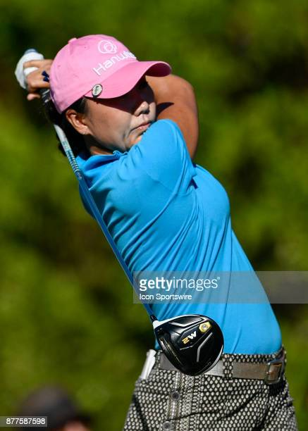 InKyung Kim of South Korea tees off on the first hole during the final round of the LPGA CME Group Championship at Tiburon Golf Club on November 19...