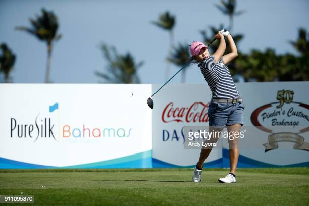 InKyung Kim of the Republic of Korea hits her tee shot on the ninth hole during the second round of the Pure Silk Bahamas LPGA Classic at the Ocean...