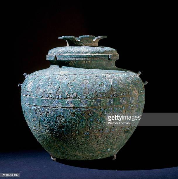 Inlaid bronze covered vessel . China, Eastern Zhou Dynasty, late 6th - early 5th Century BC.