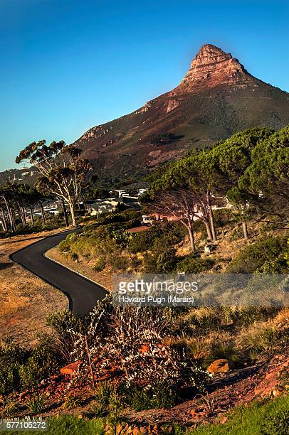 Inland, sea level and beach views of Lions head and Signal Hill, Cape Town