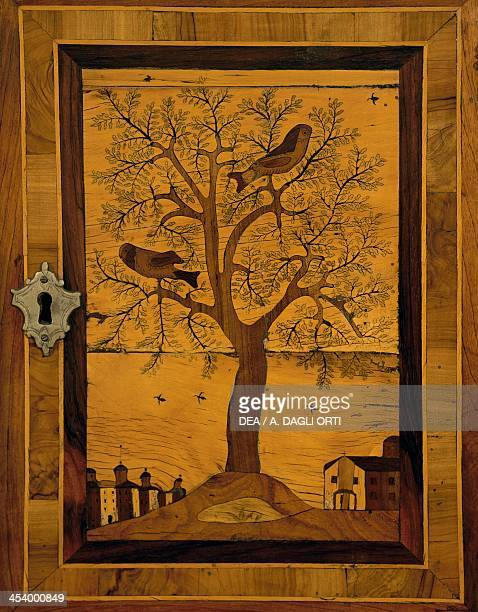 Inlays depicting a tree and birds detail from a poplar cabinet Italy 17th century Milan Castello Sforzesco Civiche Raccolte D'Arte Applicata Ed...