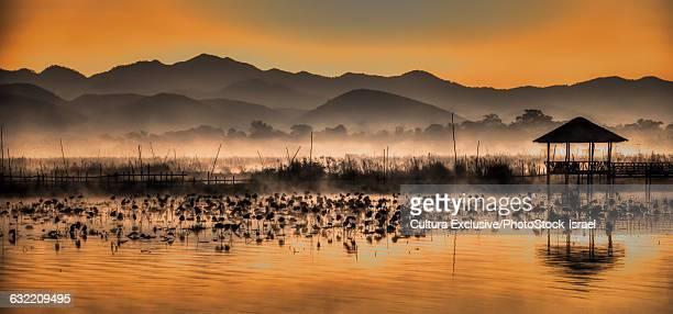 Inle lake at dusk, Shan State, Myanmar