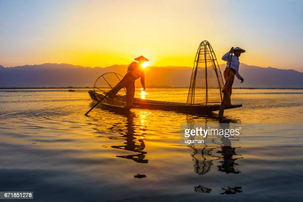 inle lake myanmar - myanmar culture stock photos and pictures