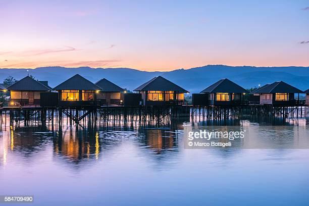 Inle lake, Nyaungshwe township, Taunggyi district, Myanmar (Burma). Shwe Inn Tha floating resort's bungalows.