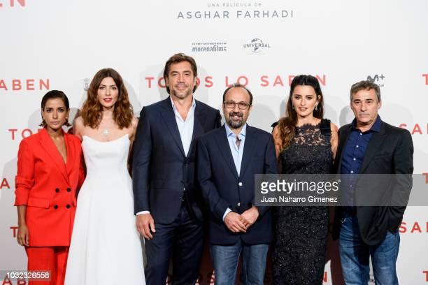 Inma Cuesta, Barbara Lennie, Javier Bardem, Asghar Farhadi, Penelope Cruz and Eduard Fernandez attend 'Todos lo saben' premiere at Callao Cinema on...