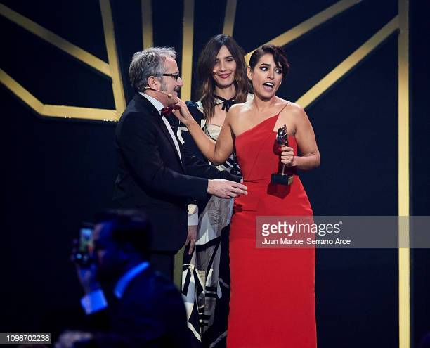 Inma Cuesta receives the best Tv show actress award during Feroz Awards 2019 at Bilbao Arena on January 19 2019 in Bilbao Spain