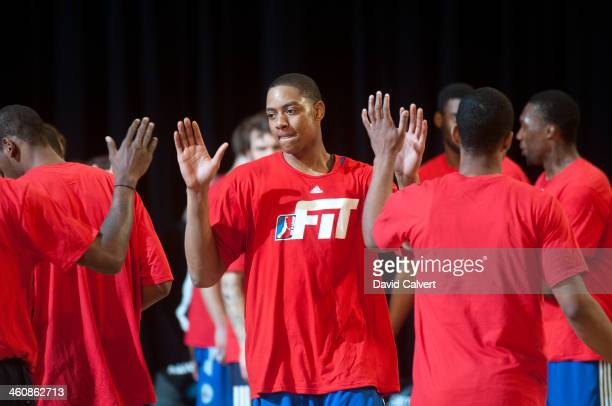 Inman of the Delaware 87ers is introduced before the game against the Reno Bighorns during the 2014 NBA DLeague Showcase presented by Samsung Galaxy...