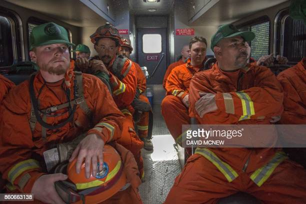 Inmate firefighters from Oak Glen Conservation Camp are transported to a work assignment under the authority of Cal Fire which calls and treats them...