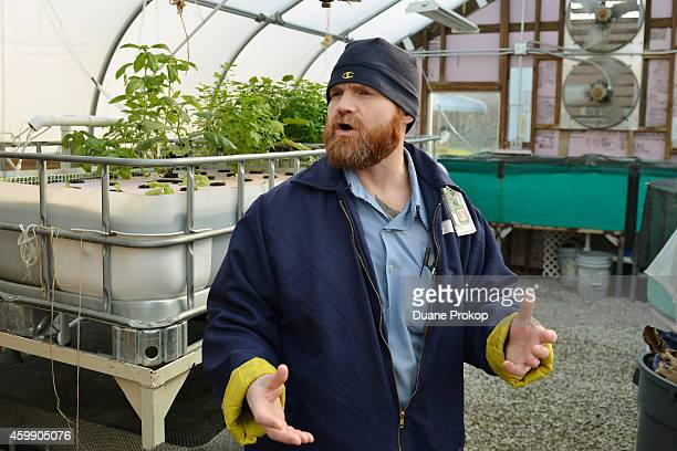 Inmate Robert Cooper inside the aquaponics greenhouse that is part of the Green Initiative at Marion Correctional Institution on December 3 2014 in...