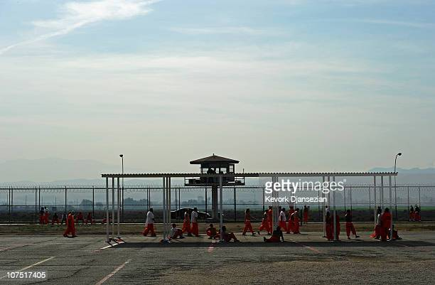 Inmates at Chino State Prison exercise in the yard on December 10 2010 in Chino California The US Supreme Court is preparing to hear arguments to...