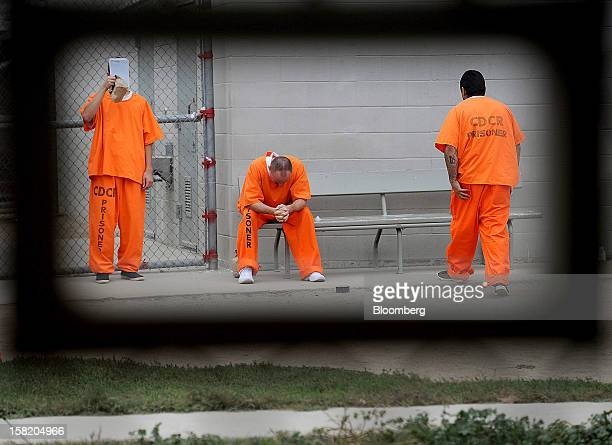 Inmates at Deuel Vocational Institution wait for appointments at the prison's mental health clinic on Thursday Oct 11 in Tracy California US The...