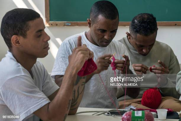 Inmates crochet clothing as part of 'Ponto Firme' project in the Adriano Marrey maximum security penitentiary in Guarulhos Brazil on April 25 2018...
