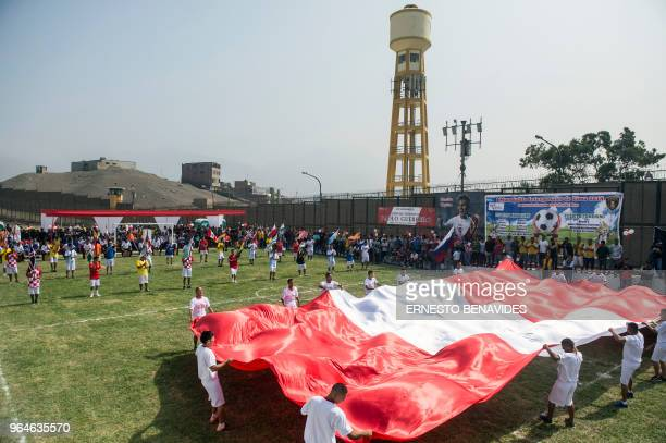 Inmates from different Peruvian jails take part in a ceremony during the First Interprison World Cup Russia 2018 tournament at the Lurigancho prison...
