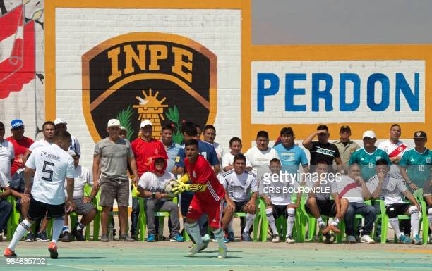 Inmates from Peruvian jails are pictured during their First Interprison World Cup Russia 2018 tournament football match at the prison in Huaral a...