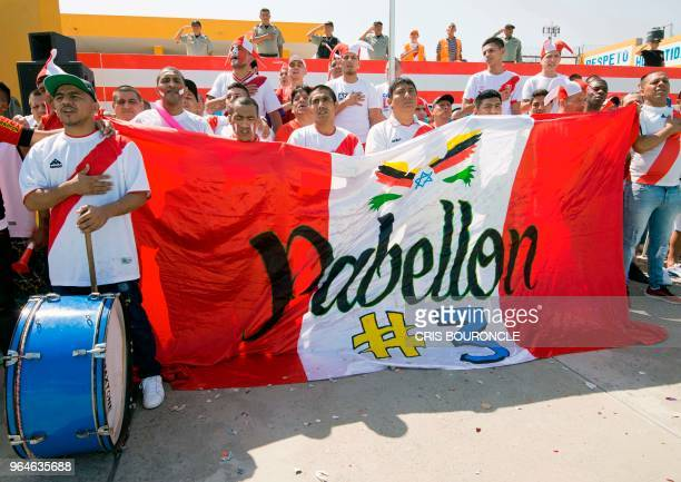 Inmates from Peruvian jails cheer for their teams during the First Interprison World Cup Russia 2018 tournament at the prison in Huaral a rural...