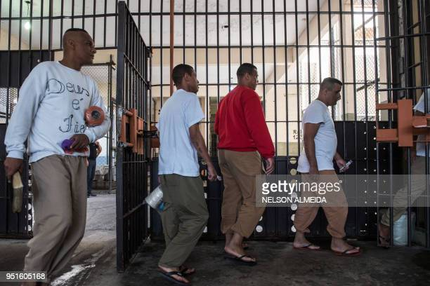 Inmates head to their crochet class as part of 'Ponto Firme' project in the Adriano Marrey maximum security penitentiary in Guarulhos Brazil on April...