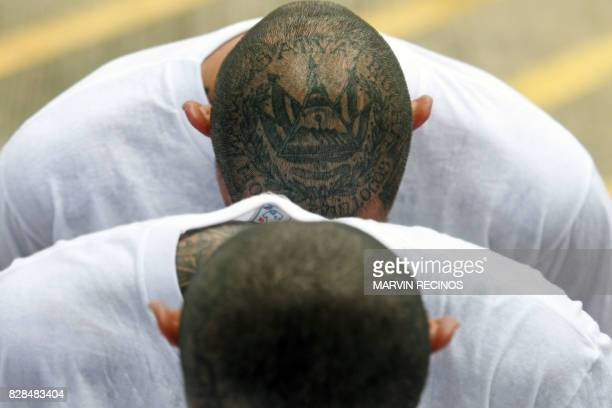 Inmates members of MS13 and Barrio 18 gangs wait upon arrival at the maximum security prison in Zacatecoluca 65 kilometres east of San Salvador on...