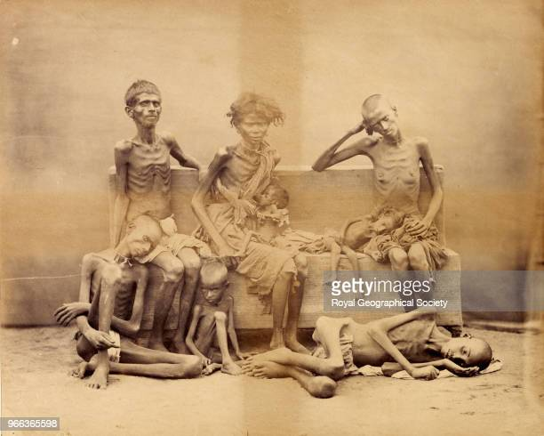 Inmates of a relief camp in Madras India 1876 Madras Famine 18761878