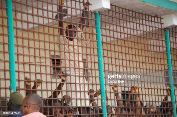 Inmates of the Mafanta Prison in Magburaka stand behind railings on October 10 2018 In 2016 Sierra Leone's Human Rights Commission lashed the squalor...