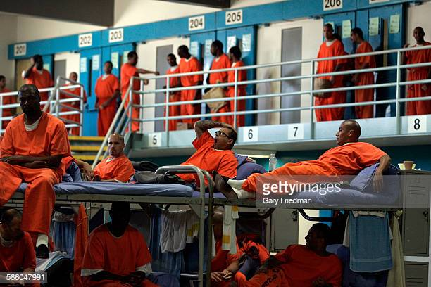 Inmates prepare to leave for dinner in Facility B at the California State PrisonLancaster on June 10 2010 200 inmates are housed in cells and due to...