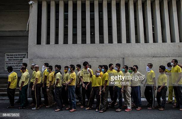 Inmates queue up to attend their trial at the Quezon City regional trial court in Manila in this picture taken on July 29 2016 There are 3800 inmates...