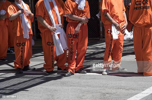 Inmates stand outside at San Quentin State Prison in San Quentin California US on Tuesday Aug 16 2016 San Quentin home to the state's only death row...