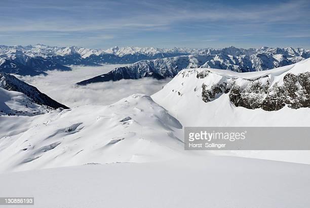 Inn Valley enshrouded in mist, viewed from the Rofan Range, Austrian Alps, Tirol, Austria