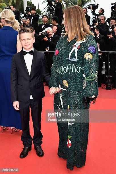 Inna Bazhenova and her son attend the closing ceremony of the 69th annual Cannes Film Festival at the Palais des Festivals on May 22, 2016 in Cannes,...