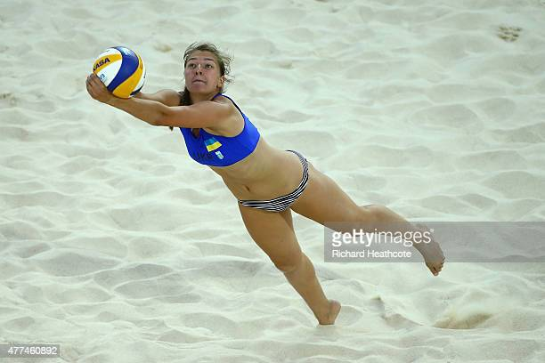 Inna Makhno of Ukraine in action in the Women's Beach Volleyball Preliminary round match between Ukraine and France during day five of the Baku 2015...