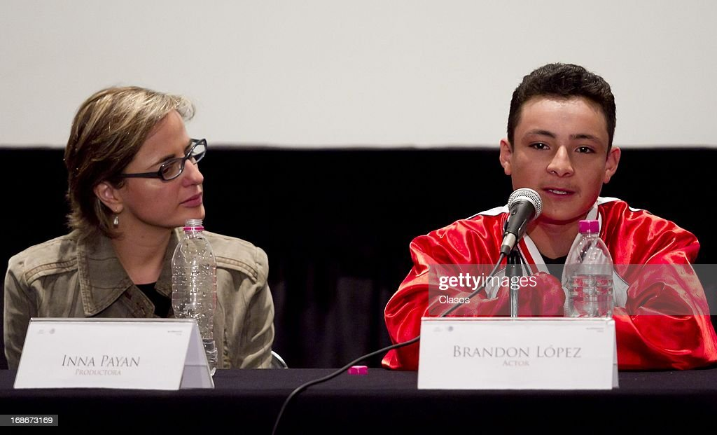 Inna Payan (L) and Brandon Lopez (R) talk during a press conference to present the movie La Jaula de Oro on May 13, 2013 in Mexico City, Mexico. These movie will compete in the upcoming Cannes Film Festival.