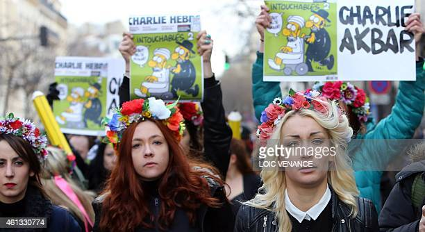 Inna Shevchenko leader of the women's rights organization Femen takes part to Unity rally Marche Republicaine on January 11 2015 at the Place de la...