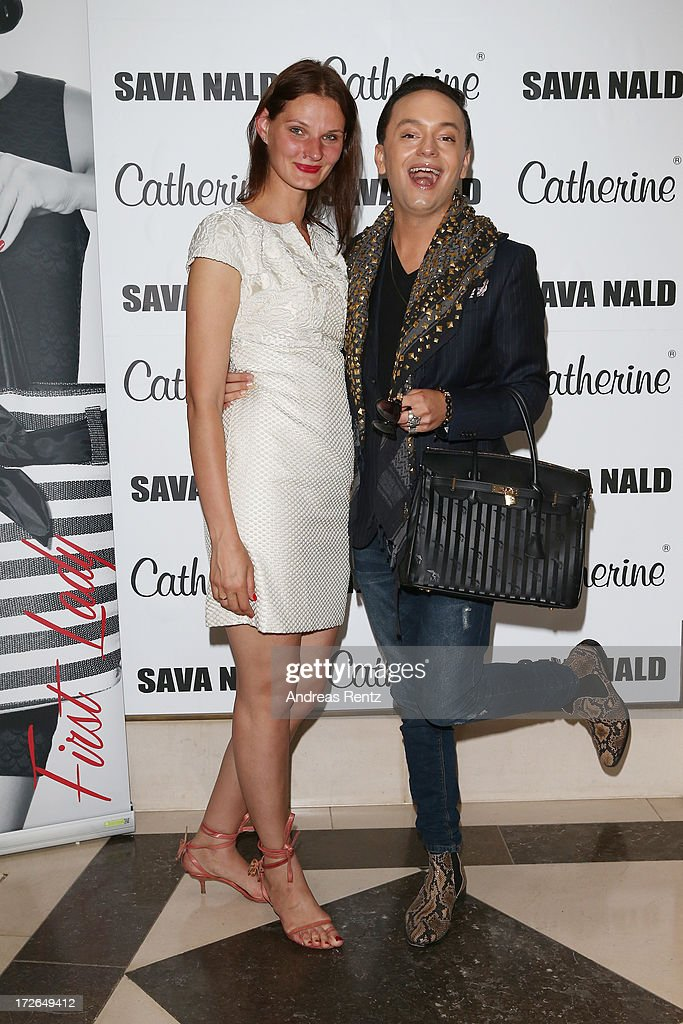 Inna Thomas and Julian Stoeckel pose before the Sava Nald Show during the Mercedes-Benz Fashion Week Spring/Summer 2014 at Hotel Adlon on July 4, 2013 in Berlin, Germany.