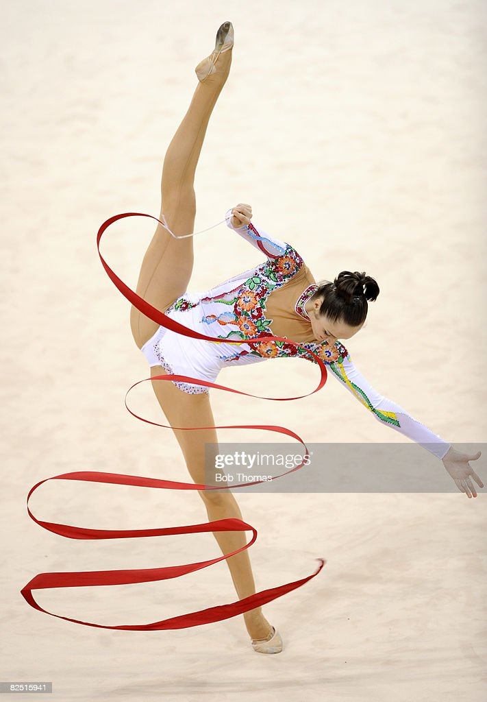 Inna Zhukova of Belarus competes in the individual all-around qualification of the rhythmic gymnastics at the Beijing 2008 Olympic Games in Beijing on August 22, 2008. in Beijing, China.