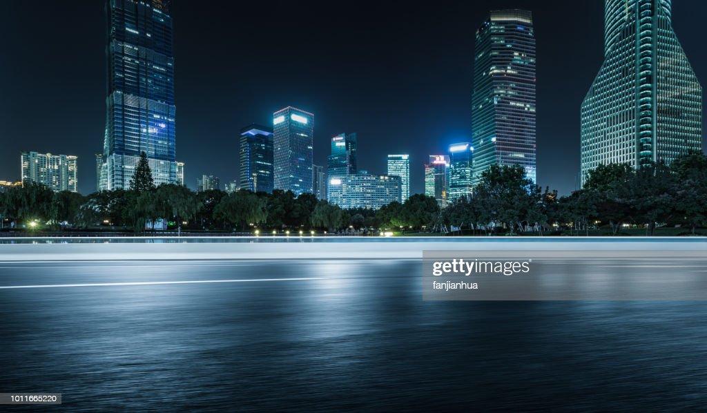 inner city elevated road by modern skyscrapers,shanghai : Stock-Foto