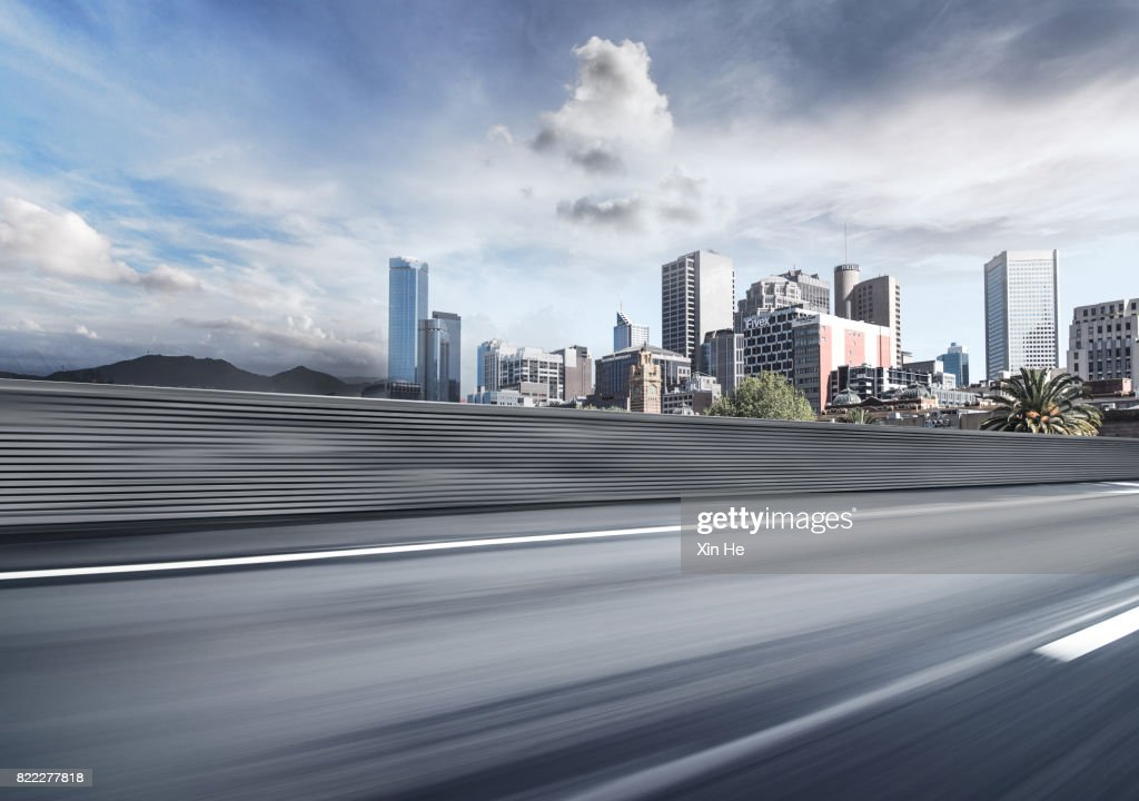 Inner City Road in Motion : Stock Photo