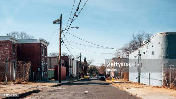 inner city streets - camden, nj - residential district stock pictures, royalty-free photos & images