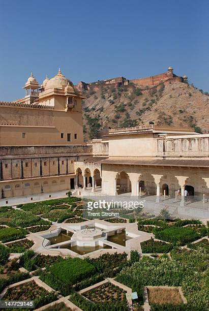 inner courtyard of amber fort - amber fort stock pictures, royalty-free photos & images
