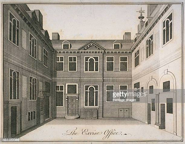 Inner courtyard of the Excise Office, Old Broad Street, City of London, 1800.