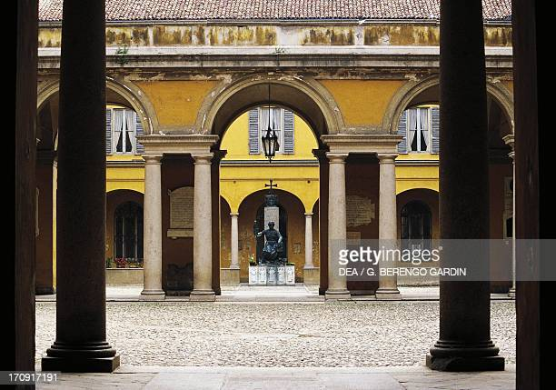 Inner courtyard of the University of Pavia, Pavia, Lombardy, Italy.
