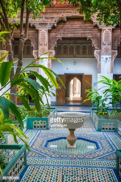 inner courtyard public bahia palace, marrakech - courtyard stock photos and pictures