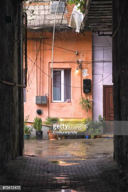 inner courtyard under rain in batumi. - emreturanphoto stock pictures, royalty-free photos & images