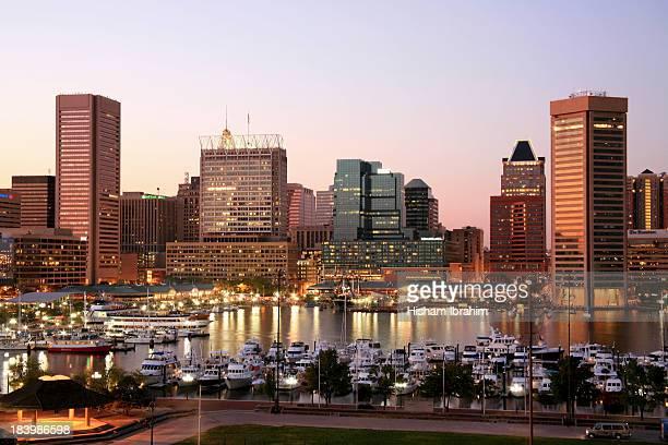 Inner Harbor and Baltimore Skyline, Dusk, Maryland