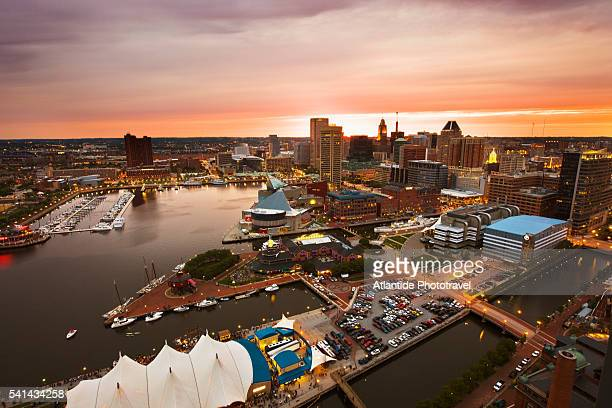 inner harbor and downtown baltimore seen from mariott waterfront hotel - baltimore maryland stock pictures, royalty-free photos & images
