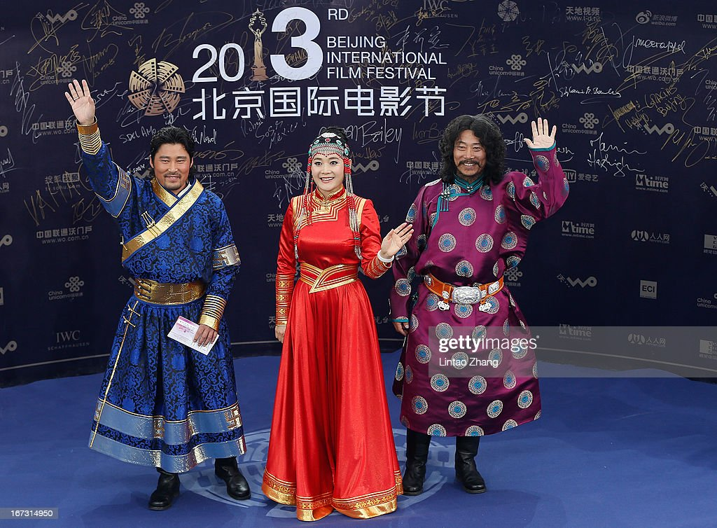 Inner Mongolia actor arrives the closing ceremony red carpet during the 3rd Beijing International Film Festival at China National Convention Center on April 23, 2013 in Beijing, China.